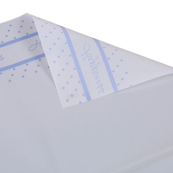 Ambalaj buchet flori waterproof 58x58cm happiness alb scris albastru