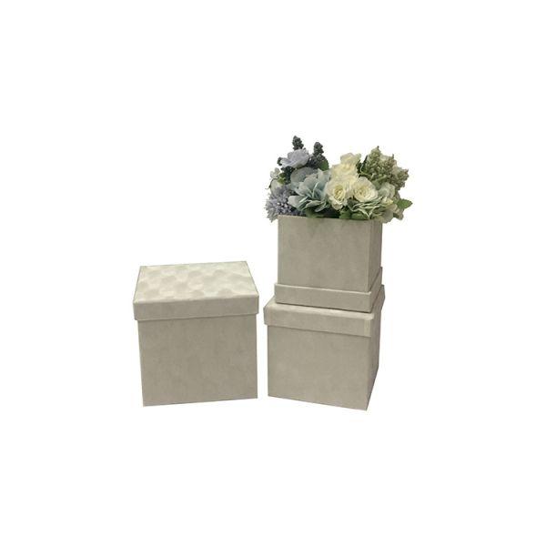 Set 3 cutii catifea S3.110 alb