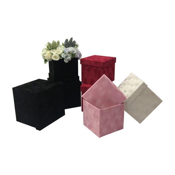 Set 3 cutii flori S3.110 catifea roz